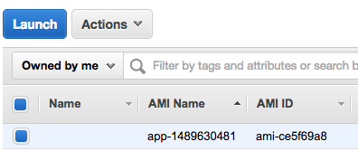 AwS Console showing app ami